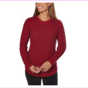 Jeanne Pierre Cranberry Cable Knit Sweater
